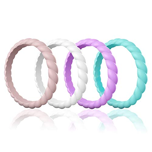 Egnaro Silicone Wedding Ring for Women, Thin and Stackable Rubber Wedding Bands,Women Twist Braided Band Rings,Size 4-8,Comfortable fit,No-Toxic,Skin Safe