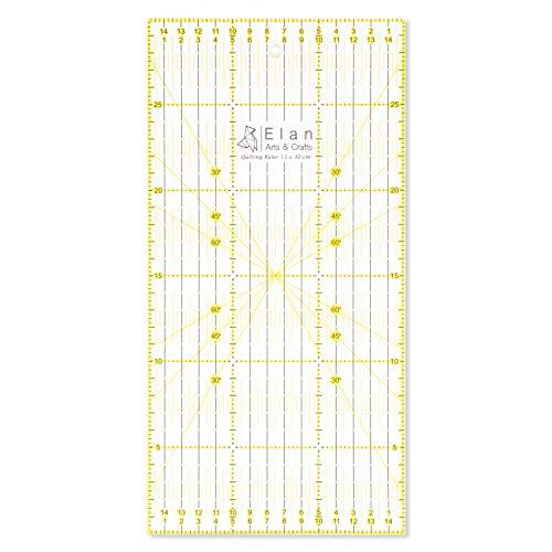 Elan Patchwork Lineal 30 cm x 15 cm, Acryl Metrische Lineal 15cm, Patchwork-lineal, Quilt-Lineal Nähen, Schneiderlineal Quilten, Schneider Lineal Schneidelineal, Stoff Lineal, Nähzubehör.