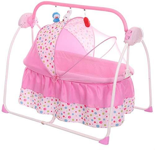 Mopoq Coaxial bebé artefacto eléctrico bebé Cuna Comodidad de la Cama Silla del bebé coaxial sueño Mecedora Mecedora con el bebé Durmiente Cuna (Color : Rosado)