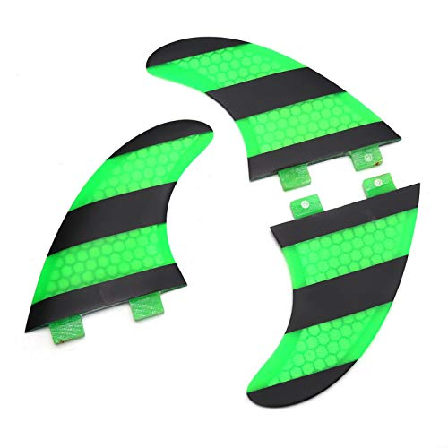 Dilwe FCS G5 Surf Fins Tabla de Surf Hecha de Fibra de Vidrio Peine Tri Set Thruster para Tabla de Surf Verde + Negro