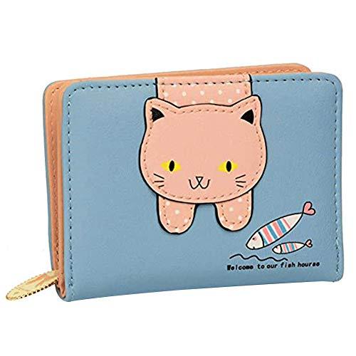 Mädchen Geldbörse, NALCY Damen Portemonnaie, Kleine Geldbörse Kinder-Geldbörse Karikatur Katzen Münzen Kasten mit Reißverschluss Kartenhalter aus PU Leder (Blau)