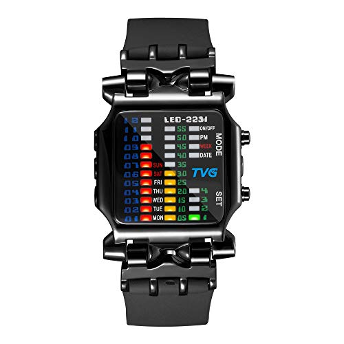 Herren Digital Armbanduhr TVG Cool Creative Fashion Uhr LED Display Wasserdicht Uhr Binäre Digital Uhr Casual Geschenk Uhren