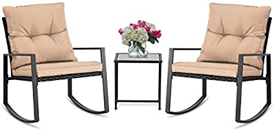 BonusAll 3 Pieces of Outdoor Patio Furniture Rocking Chair Bistro Sets Wicker Black Chair and Coffee Table (Brown Cushion)