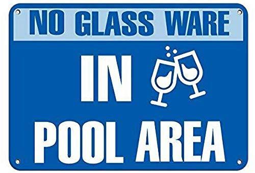 """U255uy Aluminium-Metallschild, 12 x 16 cm, """"No Glassware in Pool Area"""", Aktivitätsschild, Pool, personalisierbar, Vintage, Esszimmer, Straßenaufkleber, Garten-Kunst, Straßenposter"""