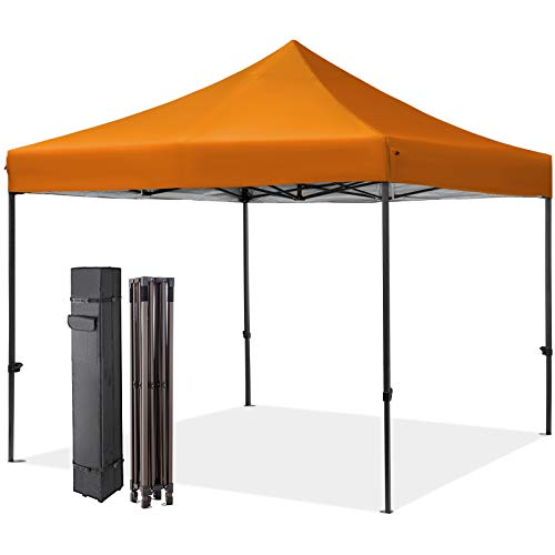 MEWAY 10' x 10' Commercial Canopy Tent Pop Up Instant Canopy Shelter with 100 Square Feet of Shade, Canopy Party Tent Sun with Wheeled Bag, x4 Sandbags,x4 Tent Stakes (Orange)