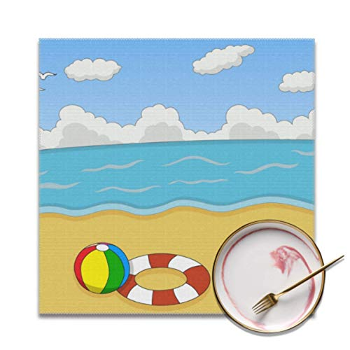 Plsdx Juego de 4 manteles Individuales Modernos, pequeños, para la Playa, en el océano, para la Cena, Resistentes a Las Manchas, Lavables, para manteles Individuales para Hotel en Interiores