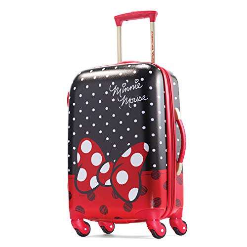 American Tourister Disney Hardside Luggage With Spinner Wheels, Minnie Mouse Red Bow, Carry-On 21-Inch