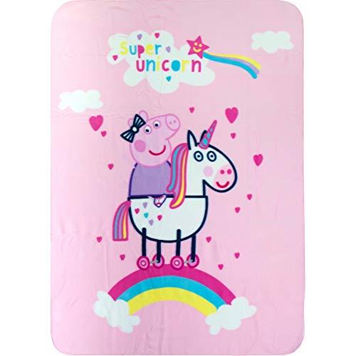 Peppa Pig Fleece-Decke Einhorn Mädchen 100 x 140 cm rosa