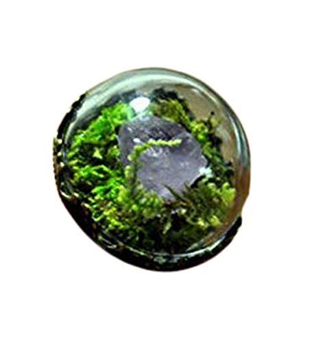 Raw Kristall Ring, Vintage Kristall Ring, Terrarium, Kristall-Spike-Ring, Miniatur-Terrarium, Wald Ring, Kristall Point, weiß Quarz