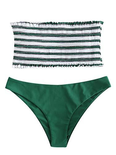 ZAFUL Damen Bikini-Set Gestreiftes Bikini Set mit Rüschen Bikiniset Bandeau BademodeBademode Swimwear Swimsuit Grün Small