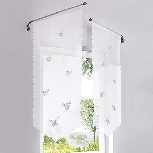 Eastery 1Er Pack Panneaux Kurzstore Transparenter Voile Küche Gardine Mit Schmetterlinge Einfacher Stil Muster Lasercut Tunnelzug H B 150 80 cm (Color : Weiß, Size : H/B:90/40Cm)