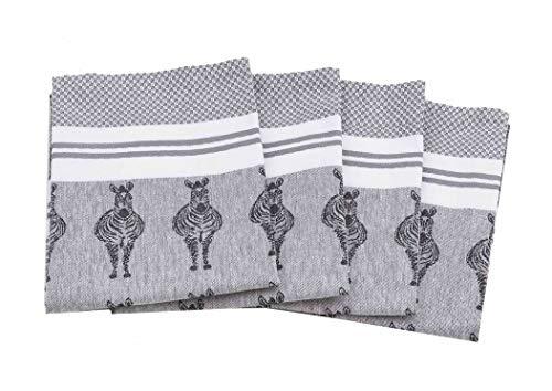 myHomery Geschirrhandtücher mit modernen Motiven im praktischen 4er Set aus 100{e63a87b7d686257ecf785a99f8ff070550c45581f014451c279757a54ae54bd6} Baumwolle Zebra - Grau | 4er-Set - 50 x 70 cm