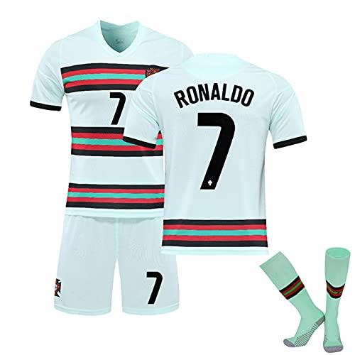 YHJA Herren Fußballtrikots, 2021 R.o.n.a.l.d.o Portugal Heim- und Auswärtsfußballtrikots, Fanshirts, T-Shirts für Erwachsene und Kinder mit Socken,Grün,18