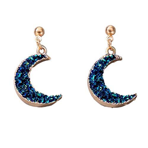 SeniorMar-UK Pendientes de Estrella Azul y Luna Pendientes Individuales Simples Adornos Pendiente de Moda Regalo de San Valentín para Mujer Azul