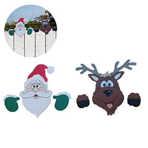 Sinerixc Christmas Themed Fence and Garden Peeker, 2pcs Pack, Holiday Fence Topper, Santa Claus & Elk is Watching, Home Decor for Lawn Yard Patio