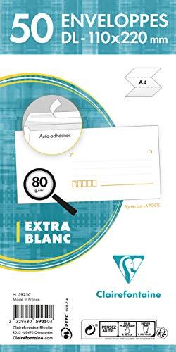 Clairefontaine 5925C - Un paquet de 50 enveloppes auto-adhésives blanches avec fond gris Claircode 11x22 cm 80g sous cello