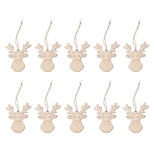 PRETYZOOM 10pcs Cute Reindeer Head Design Hanging Pendant Christmas Wooden Hanging Tag Decorative Props Christmas Supplies with Hemp Rope for Tree Home Garden Yard