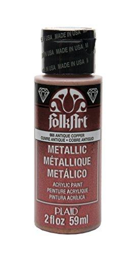 FolkArt Metallic Acrylic Paint in Assorted Colors (2 oz), 666, Antique Copper