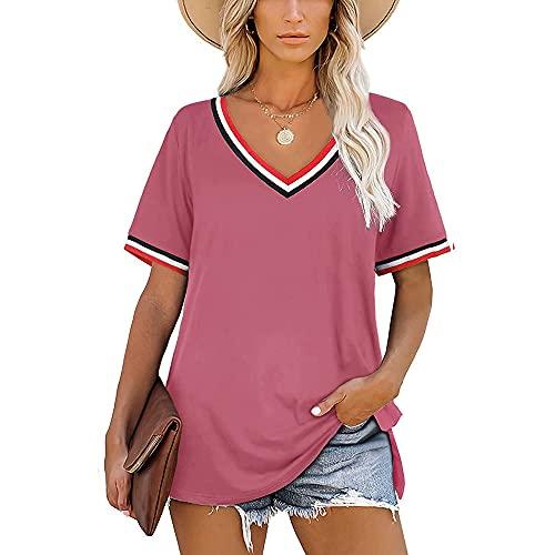 Mayntop Camiseta de verano para mujer, de manga corta, lisa, con cuello en V, suelta, con rayas, suelta, con cuello, A-fucsia, 38