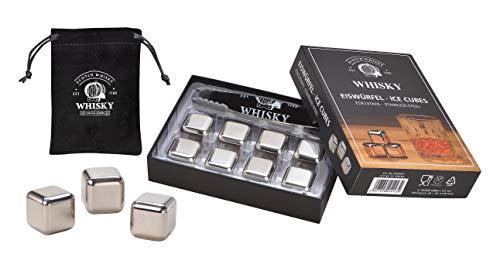 WOMA 8 Whisky Steine Edelstahl inkl. Zange & Samtbeutel - Edelstahl Eiswürfel wiederverwendbar, geschmacksneutral & Kühlung ohne Verwässern - Für Whiskey, Wodka, Gin, Wein & Mehr
