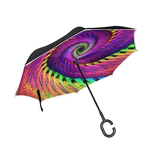 Abstrakter mehrfarbiger Psychedelischer gewundener umgekehrter Regenschirm-doppelte Schicht-Rückseiten-Regenschirm wasserdicht Winddicht für Auto-Reise im Freien