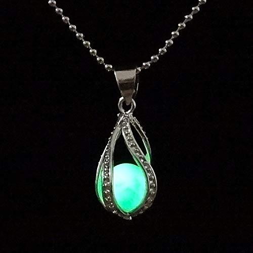 QUWE Stone Necklace,Elegant Hollow Spiral Drop Green Luminous Pendant Silver Long Chain Men Women Energy Balance Birthstone Gem Jewelry Gifts