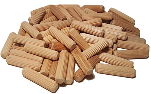 100 Pack 1/2' x 2' Wooden Dowel Pins Wood Kiln Dried Fluted and...