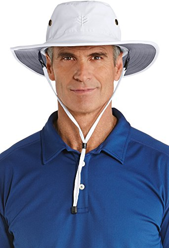 Coolibar UPF 50+ Men's Shapeable Wide Brim Hat - Sun Protective (Small/Medium- White/Carbon)