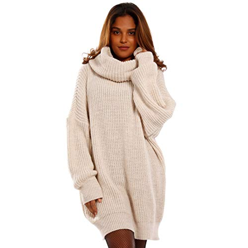 YC Fashion & Style Damen Oversize Strickkleid Long Pullover Made in Italy One Size, Farbe:Beige, Größe:One Size
