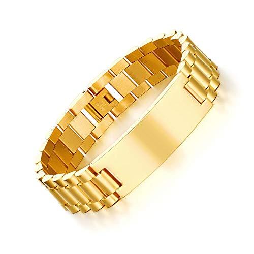 DSNSNSSL Gepersonaliseerde ID Mannen Armband Goud-Kleur RVS Diy Graveren Woorden Ketting Link Armband
