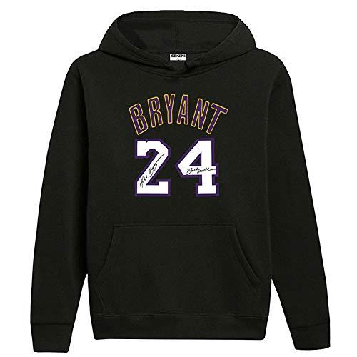 Herren und Damen Basketball Hoodie Lakers 24# Kobe Bryant Jersey Kapuzenpullover Lose Basketball Sweatshirt T-Shirt Gr. L, Schwarz
