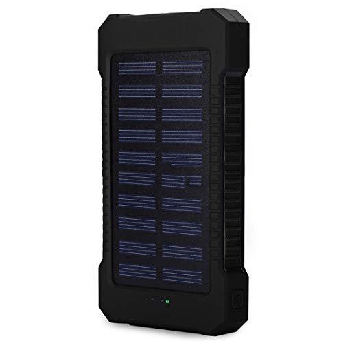 heavKin-Home Portable 10000mah Dual-USB 2A Solar Mobile Power Bank Battery Charger/Creative Compass/ 4-LEDs Indicate (Black, Size: 16x7.9x2 cm (L x W x T))