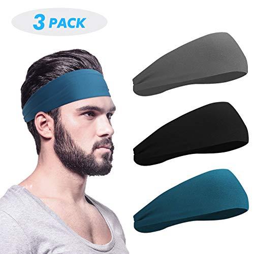 HHOOMY Męska opaska na głowę (3 paczki), męska opaska przeciwpotna i sportowa opaska na głowę do biegania, jazdy na rowerze, jogi, koszykówki - rozciągliwa opaska odprowadzająca wilgoć uniseks opaska na włosy