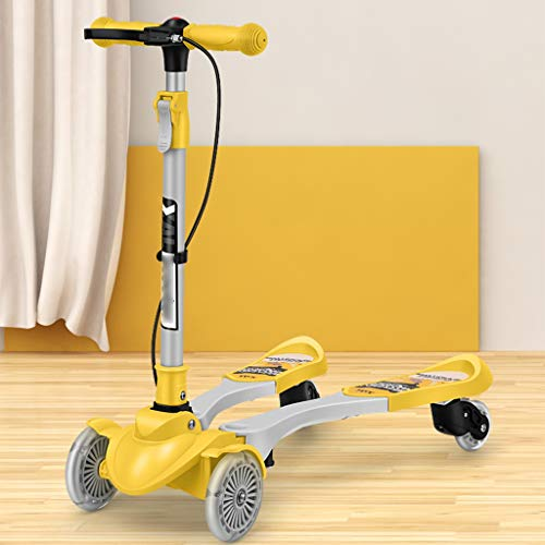 Review Of Scooters Self Balancing 3-12 Year Old Children Double Brake Safety Bicycle Flash Four Whee...