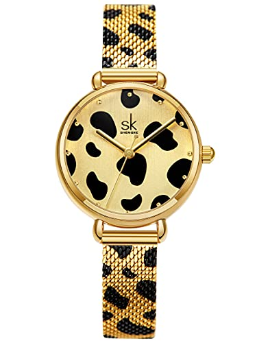 Alienwork Reloj Mujer Oro Banda de Malla Metálica Elegante
