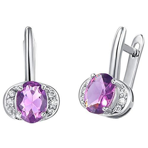 FGFDHJ Pendientes de plata 925 con forma ovalada, zafiro, rubí, amatista, pendiente de piedras preciosas, joyería de boda para mujer