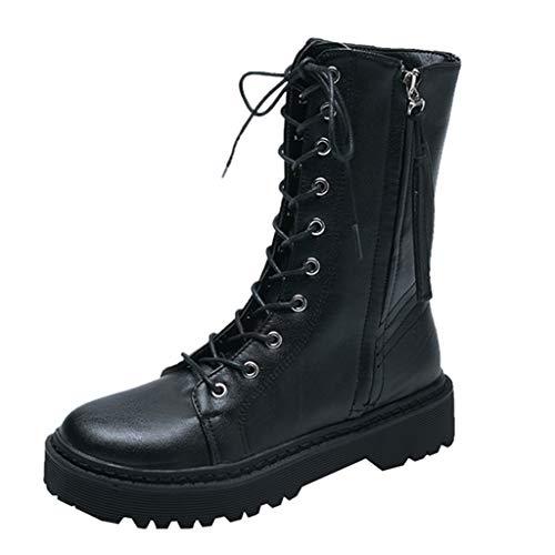 Allence Damen Klassischer Leder Knöchel Stiefel Boots Winter Warme Gefüttert Stiefeletten Schneestiefel