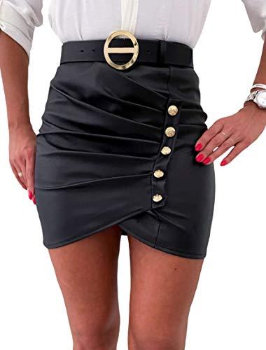 Frecoccialo Damen Werlook Leder Rock Asymmetrisch Bleistift Röcke mit Knöpfe High Waist Minirock Figurbetont Lederrock Enger Schwarz Lederrock (Schwarz, L)