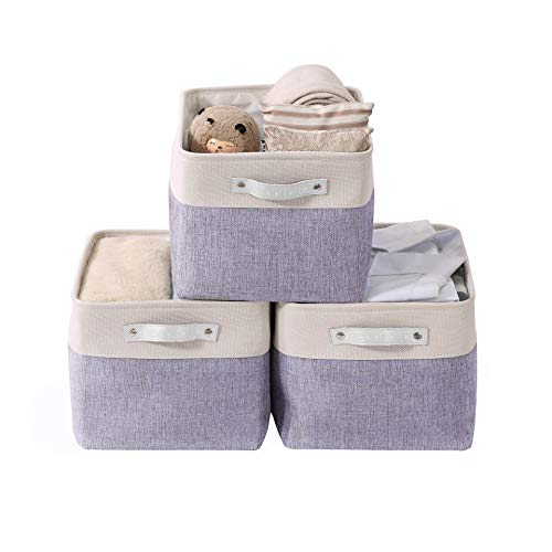 DECOMOMO Foldable Storage Bin | Collapsible Sturdy Cationic Fabric Storage Basket Cube W/Handles for Organizing Shelf Nursery Home Closet (Purple and White, Large - 15 x 11 x 9.5-3 Pack)