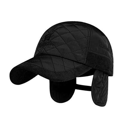 JINTN Winter Warm Baseballcap mit Ohrenklappe Golf Cap Mütze aus Baumwolle Dicke Schirmmütze Winterkappe Wasserdicht Kappe Ohrenschutz Ohrenschützer Caps für Herren