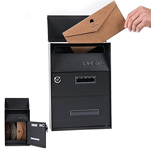 Buzones de soporte de pared, buzones con llave con llaves, caja de correo montada en la pared al aire libre con gran capacidad, caja de correo de gran capacidad, caja de correos de metal a prueba