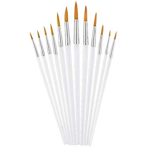 Haarpinsel-Set aus Acrylhaar, 12 Stück, Rund-Pinsel, verschiedene Größen, perfekt geeignet für Schule, Malen, Künstler, uvm.