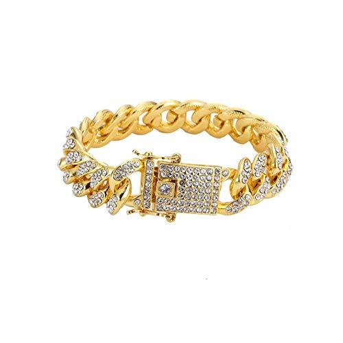 ZIYIZNL Heren Armband Chain China heeft Hip hop high-Grade Diamond-Studded Hip-hop Armband 12mm Brede Vlinder Gesp Dichte Diamant Dikke Goud Plating Hand Cubaanse Ketting, 18CM