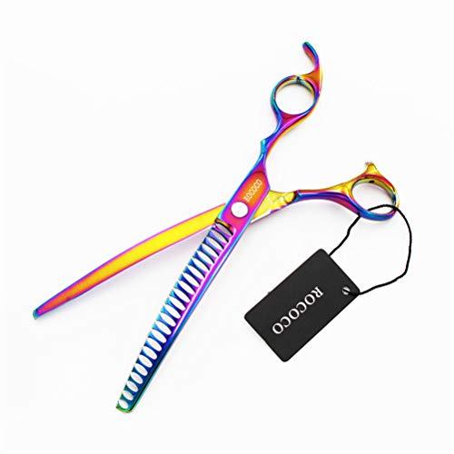 8,0 inch Dog Grooming Scissors Multicolor Gebogen Verdunnende Scharen Chunkers voor honden met lederen tas Uitdunnen tarief 50%