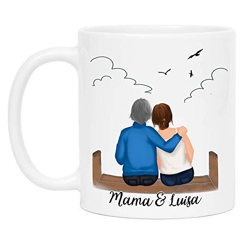 Kiddle-Design Mutter und Tochter Tasse Personalisiert mit Namen Muttertag Geburtstag Geschenk für die beste Mama Tochter oder Oma Individuelle Kaffeetasse zum Personalisieren