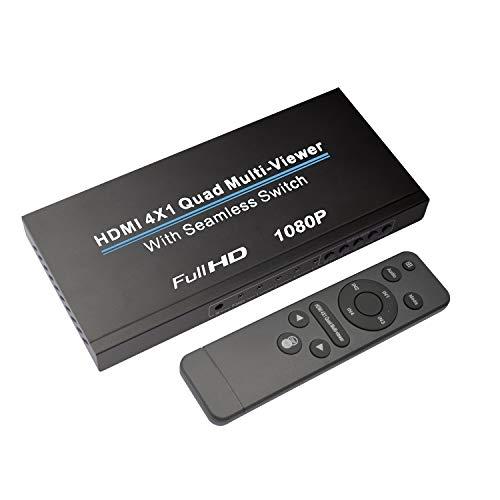 NIERBO HDMI Switch 4X1, HDMI Quad Multi-Viewer Switcher HDMI 1080p HDMI Splitter Controllo IR Continuo Supporto 3D UE 5 modalità per PS3 / PC/STB/Dvd