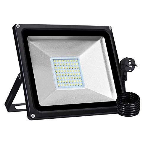 LED Strahler mit EU Stecker, Superhell LED Fluter IP65 wasserdicht Außenstrahler Flutlichtstrahler Aluminium Scheinwerfer Licht für Garten Garage Sportplatz (Warmweiß, 50W)