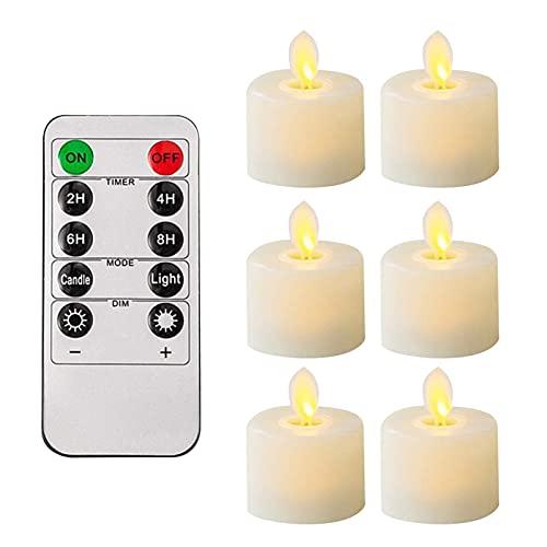 pologyase Luces de vela sin llama Vela remota Luz LED Eléctrica Falso...