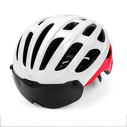 Kaper Go Sicherheits-Mountainbike-Reithelm integrierte magnetische Brille Rennradhelm Erwachsene Männer und Frauen (Color : White)