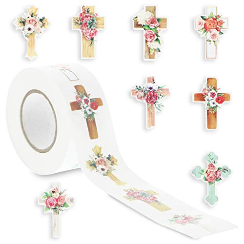 Christian Stickers with 8 Floral Cross Designs (1 x 1.5 Inches, 500 Pieces)
